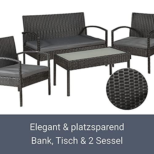 ArtLife Polyrattan Sitzgruppe Trinidad – Gartenmöbel Set mit Bank, Sessel & Tisch für 4 Personen – schwarz mit grauen Bezüge – Terrassenmöbel Balkonmöbel Lounge - 4
