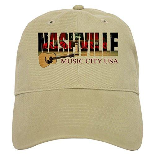 CafePress Nashville Music City USA Baseball Baseball Cap with Adjustable Closure, Unique Printed Baseball Hat Khaki