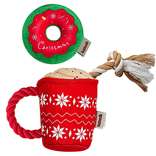 Lepawit 2Pack Christmas Dog Plush Squeaky Toy with Rope for Dogs Cute Coffee Cup & Donut Design, Interactive Stuffed Dog Rope Toy for Medium Large Dogs