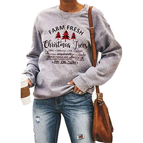 SMTM Damen Langarmshirt Weihnachten Damen Absicherung Christmas Trees Sweatshirt...