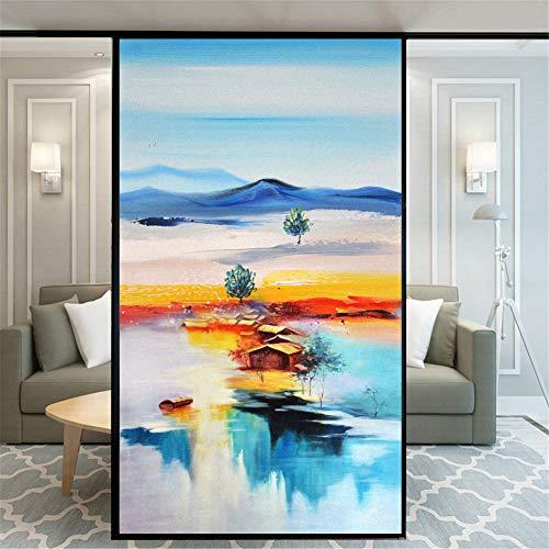 Xijier Dekorativer Fenster-Aufkleber ohne Kleber, für Privatsphäre, Milchglas-Gemälde, 75 x 160 cm