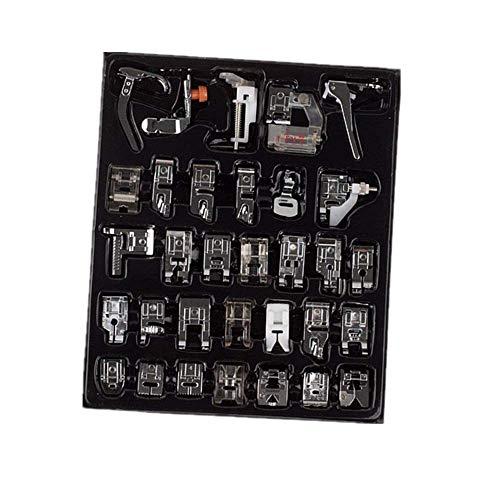 Onerbuy Juego de 32 piezas de prensatelas multifunción para máquina de coser profesional, accesorios de repuesto para Brother, Singer, Viking, Janome, Kenmore