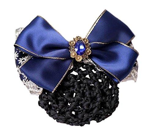 Elegant Ladies Snood Net Barrette Hairnets Housse de cheveux, Bow Navy #01