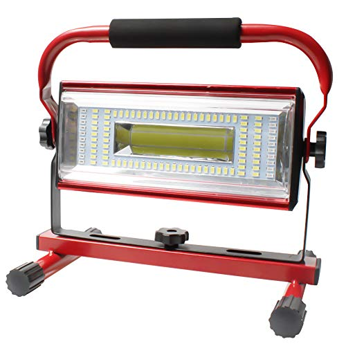 Orchidtent LED Luz de Trabajo USB recargable 100W, Foco LED Trabajo Recargable 7000 lumenes, 6 Modos, Portátil Luz de Inundación Soporte Luces de Trabajo con Rotación de 360 °(Rojo)