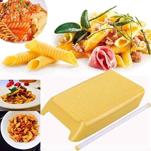 Masrin Pasta Makkaroni Board Spaghetti Gnocchi Maker Nudelholz Küche Babynahrung Werkzeug (Gelb)