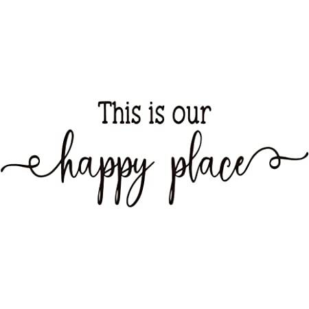 this is our happy place Home Decor Calligraphy Housewarming Vacation Holiday Home Family Bedroom v3 Vinyl Decal Wall Art Decor Sticker