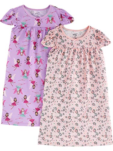 Simple Joys by Carter's Girls' Little Kid 2-Pack Nightgowns, Fairy/Animal Print, 6-7