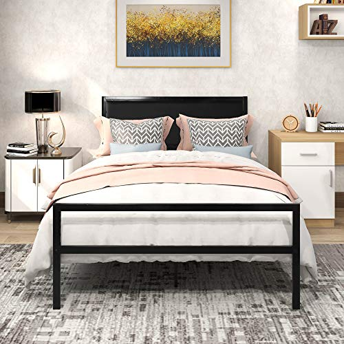 Full Size Metal Platform Bed Frame with Faux Leather Headboard, Mattress Foundation, Box Spring Replacement