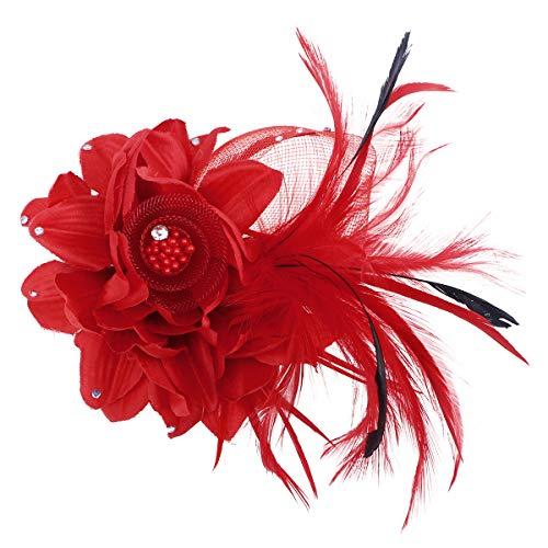 Lurrose Broches de Plumas de Flores Broches de corpiño Broche de Horquilla Pinzas para el Cabello Hechas a Mano de Flores Horquillas Sombreros para Mujeres Chicas (Rojo)