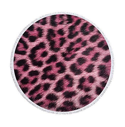 XIAOBAOZISTJ strandlaken digitale druk dier tijgerprint ronde strandhanddoek microvezel strandlaken sjaal ronde volwassenen picknickmat (lila)