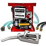 Biltek 110V Electric Fuel Transfer Pump - Includes a Meter, Nozzle & 13ft Hose - for Diesel Oil (Not for Gasoline) - 60 L/Min