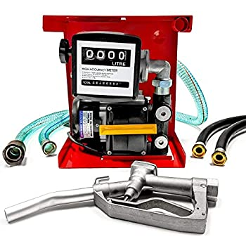 Biltek 110V Electric Fuel Transfer Pump - Includes a Meter Nozzle & 13ft Hose - For Diesel Oil  Not for Gasoline  - 60 L/Min Red  FTP-6060