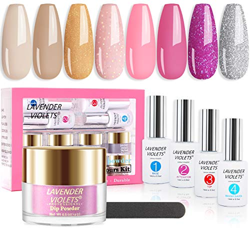 Lavender Violets Quick Dry Dip-Powder-Nail-Kit Starter 8 Colors 0.5oz Glitter Pink Silver Dipping Powder with Dip Base/Top Gel, Activator, Brush Cleanser n Nail File J750