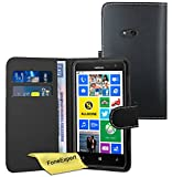FoneExpert® Wallet Hülle Flip Cover Hüllen Etui Ledertasche Lederhülle Premium Schutzhülle für Nokia Lumia 625 + Bildschirmschutzfolie (Schwarz)