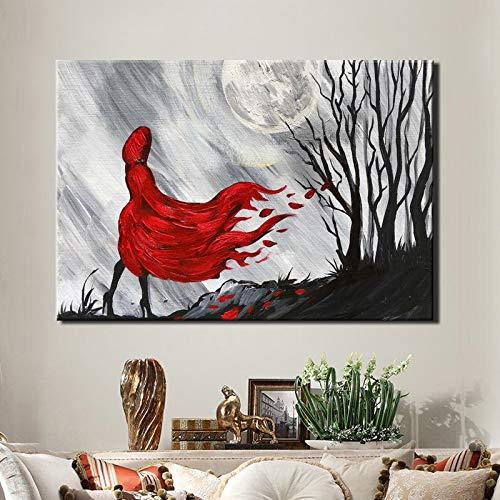 SADHAF Modern Abstract Wanddecoratie Canvas Schilderen rode jas Meisje Hand Draw Poster Woonkamer Decoratie 40x50cm (no frame) A2