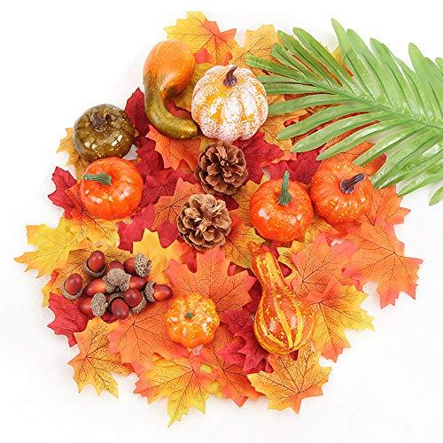 CreepyParty Künstliches Kürbisse Realistische Ahornblätter, kleine Eicheln, Tannenzapfen Set Halloween Herbst Thanksgiving Dekoration (50 Stück)
