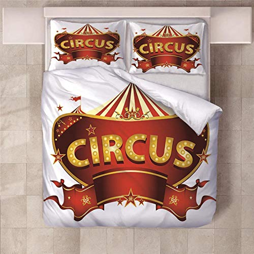 PERFECTPOT Super King Duvet Cover Set Circus Printed Bedding Sets in Polyester, 1 Quilt Cover with 2 Pillowcases for Children Boys Girls Adults, 260 x 220 cm
