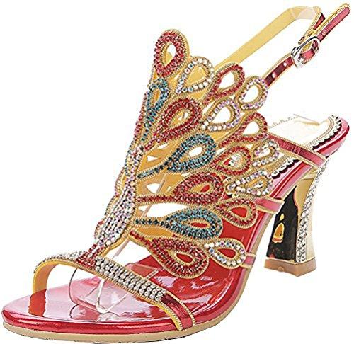 Salabobo L012 - Sandalias de tacón de pavo real para mujer, con...