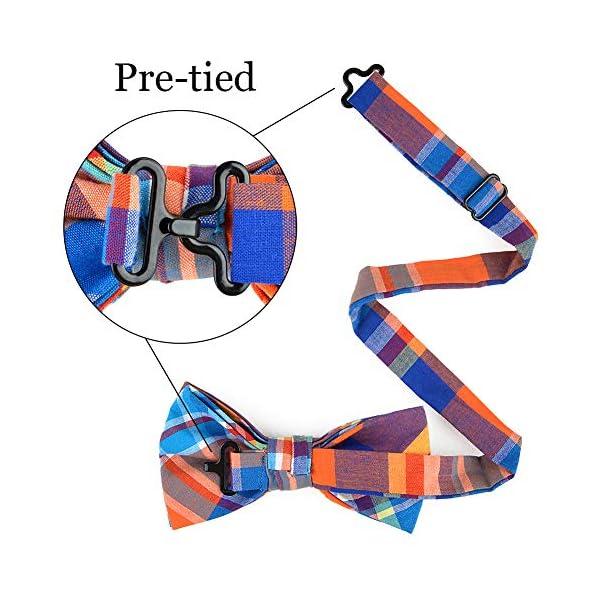 OUMUS Men's Pre-tied Bow Ties Adjustable Length Plaid Bowtie for Men & Boys & Adult & Children 5 Pack