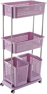 Kitchen Storage Trolley, 2/3-Tier Detachable Rolling Cart with Wheels Basket Stand 2 Side Hooks, for Bathroom Dirty Clothe...