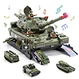 CUTE STONE Military Vehicles Sets, Battle Tank Toy with Realistic Light and Sound, Rotating Turret, 4 Pack Mini Alloy Die-cast Army Cars, Soldier Army Men, Great Military Toys Gift for Kids Boys