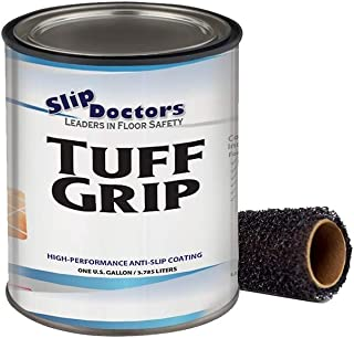 Slip Resistant Coating, Interior/Exterior, Textured to Increase Traction. Industrial Grade, High Performance - Tuff Grip (Clear, Gallon)
