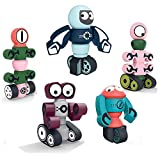 MICOSBVX Magnetic Robots Toy,Magnetic Blocks Set for Kids with Storage Box, Stacking Robots Toy STEM Educational Playset for Ages 3+ Boys and Girls