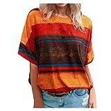 YANFANG Blusas Moda 2021,Camiseta De Contraste Degradado para Mujer Blusa...