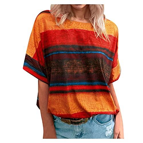 YANFANG Blusas Moda 2021,Camiseta De Contraste Degradado para Mujer Blusa Superior Manga Corta Verano Informal Mujer,Corte Cintura,Blusas Elegantes,Blusas Elegantes Fiesta,Naranja,XL