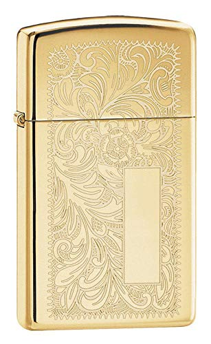 Zippo Venetian Slim High Polish Brass Pocket Lighter