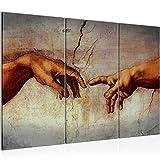 Bilder Creation of Adam MichelAngelo Wandbild 120 x 80 cm Vlies - Leinwand Bild XXL Format Wandbilder Wohnzimmer Wohnung Deko Kunstdrucke Braun 3 Teilig - MADE IN GERMANY - Fertig zum Aufhängen 700131a