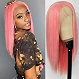 Maycaur Pink ace Front Wigs Long Straight Hair 14 Inch Wigs for Fahison Women Synthetic Lace Front Wigs with Natural Hairline