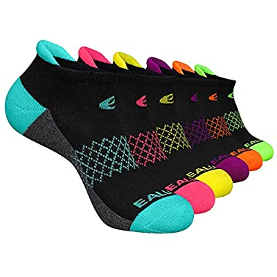 Eallco Womens Ankle Socks 6 Pairs Running Athletic Cushioned Socks, Black 6, Shoe Size: 6-10 / Sock Size: 9-11