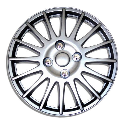 TuningPros WSC-611S16 - Pack of 4 Hubcaps - 16-Inches Style Snap-On (Pop-On) Type Metallic Silver Wheel Covers Hub-caps
