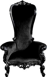 Casa Padrino Sillón Trono Barroco de Lujo Negro/Negro - sillón Gigante - Silla Trono - versión de Lujo con Respaldo Alto/Logo con Escudo Propio Posible