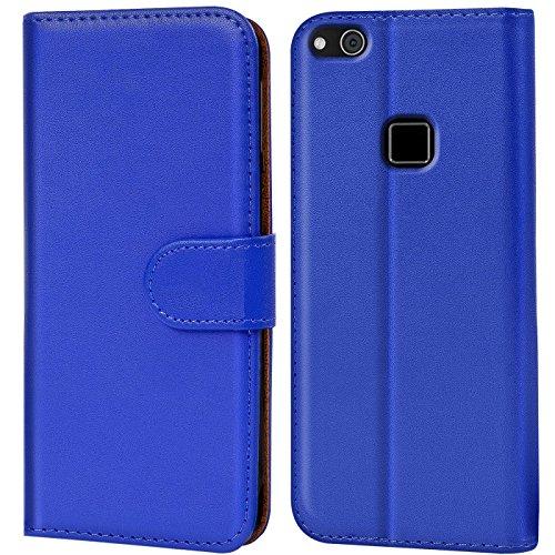 Verco P10 Lite Hülle, Handyhülle für Huawei P10 Lite Tasche PU Leder Flip Case Brieftasche - Blau