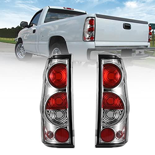 ROXX Tail Lights for 1999-2006 Chevy Silverado 1500 / 2500/ 3500, 2007 Silverado Classic Body, Taillights for 1999-2002 GMC Sierra 1500/2500/3500 Rear Light, Driver & Passenger Side (Chrome+ Clear)