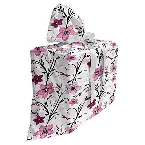 ABAKUHAUS Libelle Baby Shower Geschänksverpackung aus Stoff, Shabby Pflanze Röschen, 3x Bändern Wiederbenutzbar, 70 x 80 cm, Blassrosa Getrocknete Rose