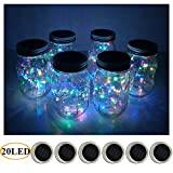 fairy jar lights - 6 Pack Mason Jar Lights 20 LED Solar Colorful Fairy String Lights Lids Insert for Patio Yard Garden Party Wedding Christmas Decorative Lighting Fit for Regular Mouth Jars(Jars Not Included)