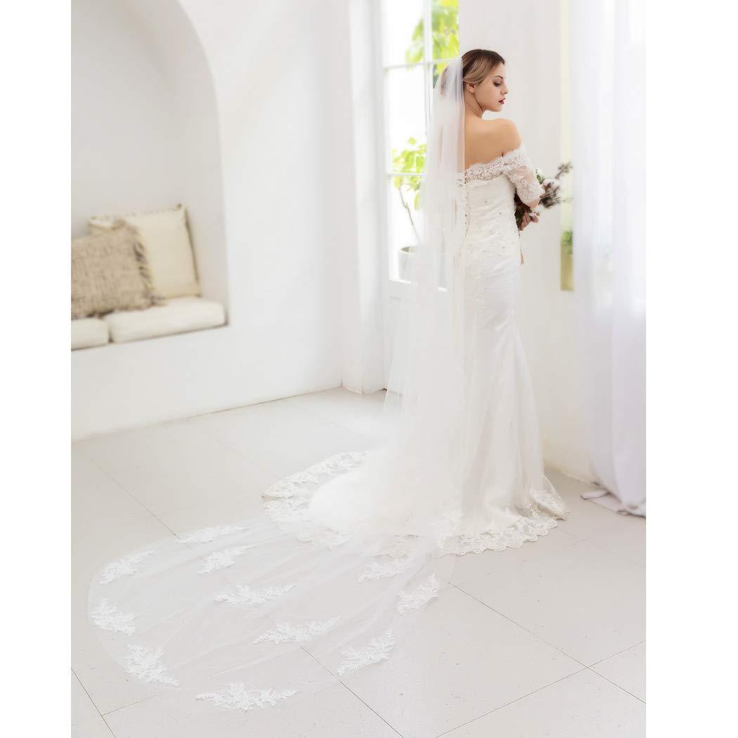Yean Wedding Veil Brides Bridal Lace Veil Flower Hair Accessories for Women (One Tier, 118 Inch) (White)