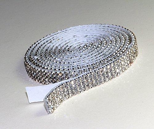 Crystal Mesh Strassband SS6 Borte SELBSTKLEBEND Breite wählbar, 1,15m lang Chaton Strasssteine 4reihig / 10mm x 1150mm