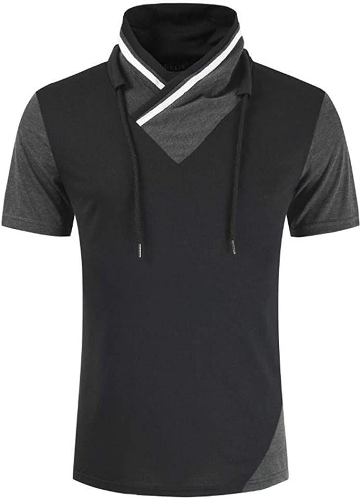 Men's Spring Summer Cool Tees Color-Block Stitching T-Shirs Casual Cotton T-Shirts Short Sleeve V-Neck Tops