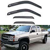 LQQDP 4pcs Front+Rear Smoke Sun/Rain Guard Outside Mount Tape-On Window Visors Fit 99-06 Chevy Silverado/GMC Sierra 1500/2500/3500 07 Classic Body Extended Cab With Half Size Back Doors