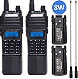 2 Pcs BAOFENG UV-82 Plus 2M/70CM High Power Portable Two Way Radio Dual PTT Handheld Amateur Radio with 2 Pack 3800mAh...