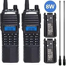 2 Pcs BAOFENG UV-82 Plus 2M/70CM High Power Portable Two Way Radio Dual PTT Handheld Amateur Radio with 2 Pack 3800mAh Battery +2 Pack 771 Antenna
