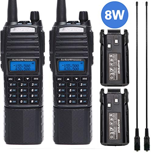 2 Pcs BAOFENG UV-82 Plus 8w/4w/1w 2M/70CM High Power Portable Two Way Radio Dual PTT Handheld Amateur Radio with 2 Pack 3800mAh Battery +2 Pack 771 Antenna