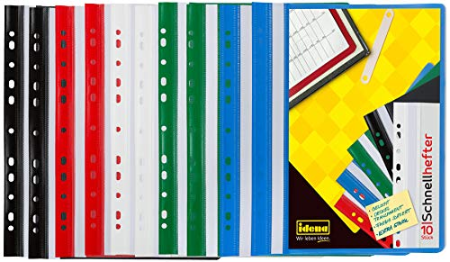 Idena 307862 - Schnellhefter für DIN A4 gelocht, aus Kunststoff, 2 x blau/grün/rot/weiß/schwarz, 10 Stück