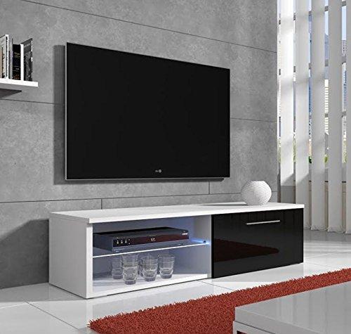 Lettiemobili – Mobile TV modello Basay bianco con nero LED (100cm)
