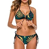 NiYoung Women's Two Piece Halter Top Triangle Bottom Bikini Set, Trippy Sun and Moon, Sexy Swimsuit Bathing Suits Perfect for Summer Holiday Beach, M