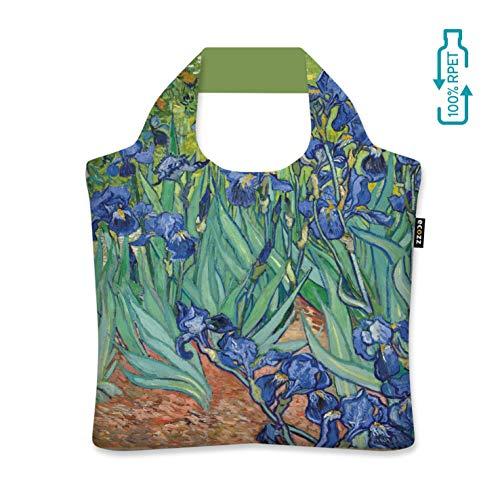 ecozz Irises - Vincent Van Gogh, faltbar, Einkaufstasche mit Reißverschluss, Wiederverwendbar, Tragetasche, Handtasche, Tote Bag, Strandtasche, Umweltfreundlich, Einkaufsbeutel